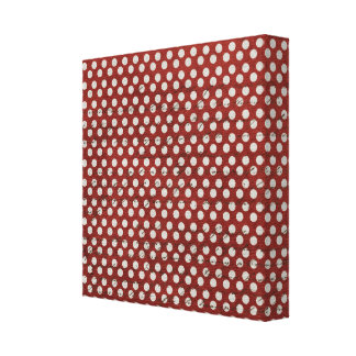 Grungy Red and White Polka Dots Stretched Canvas Print