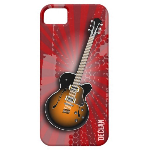 Grungy Red Burst Guitar iPhone 5 Cases