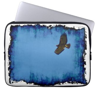 Grungy Red-Tailed Hawk Soaring Computer Sleeves
