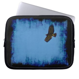 Grungy Red-Tailed Hawk Soaring Laptop Sleeve