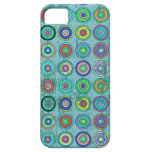 Grungy Retro Blue Circle Pattern iPhone 5 Cases