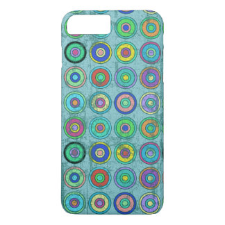 Grungy Retro Blue Circle Pattern iPhone 7 Plus Case