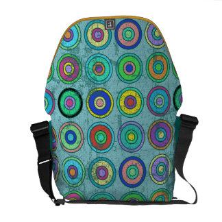 Grungy Retro Blue Circle Pattern Commuter Bags