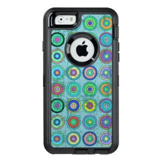 Grungy Retro Blue Circle Pattern OtterBox Defender iPhone Case