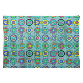 Grungy Retro Blue Circle Pattern Placemat