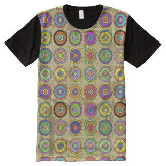 Grungy Retro Circle Pattern All-Over-Print Shirt