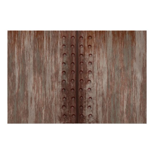 Grungy Riveted Rusty Metal Poster