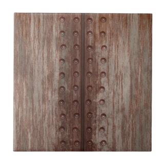 Grungy Riveted Rusty Metal Tile