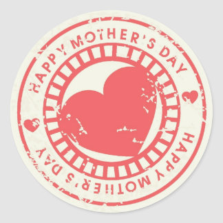 Grungy Rubber Stamp for Happy Mother's Day Classic Round Sticker