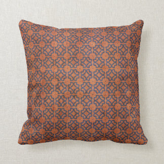 Grungy Rust and Blue Pattern Throw Pillow