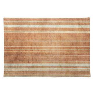 Grungy Rust Orange Stripe Pattern Cloth Placemat