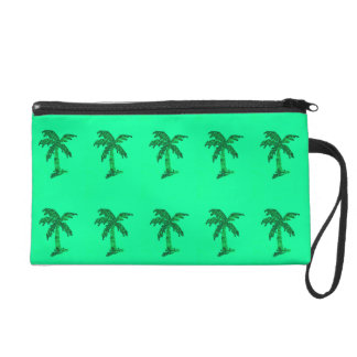 Grungy Sequined Palm Tree Image Wristlet
