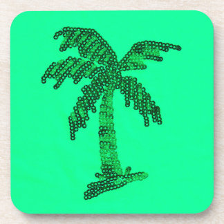 Grungy Sequined Palm Tree Image Coaster