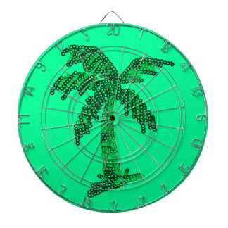 Grungy Sequined Palm Tree Image Dartboard With Darts