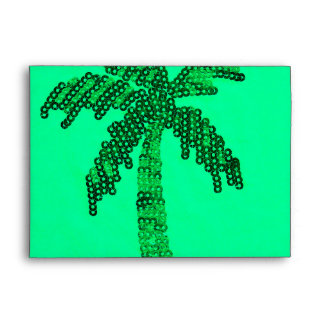 Grungy Sequined Palm Tree Image Envelope