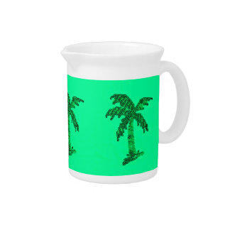Grungy Sequined Palm Tree Image Pitcher
