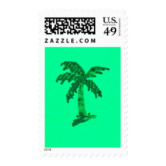 Grungy Sequined Palm Tree Image Postage Stamp