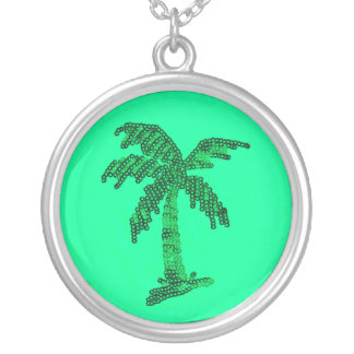 Grungy Sequined Palm Tree Image Round Pendant Necklace