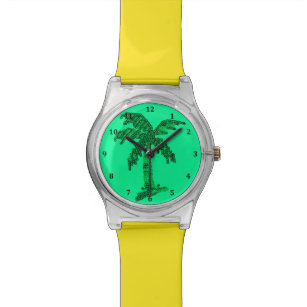 Grungy Sequined Palm Tree Image Wristwatch