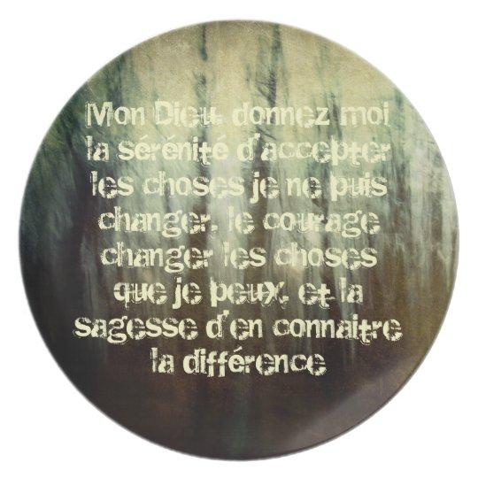 Grungy Serenity Prayer in French Melamine Plate