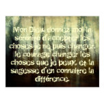 Grungy Serenity Prayer in French Postcard