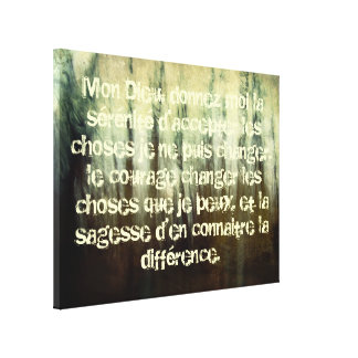 Grungy Serenity Prayer in French Wrapped Canvas Canvas Print