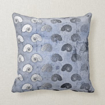 Beach Themed Grungy Silver Gray Blue Seashells Ocean Beach Throw Pillow