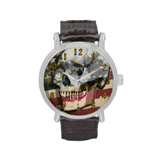 Grungy Skull Over Vintage Style American Flag Wristwatch