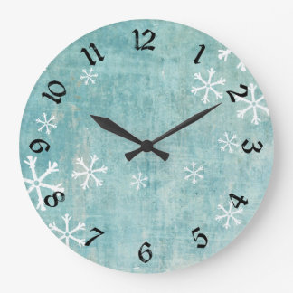 Grungy Snowflakes Large Clock
