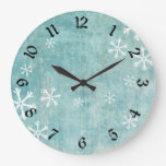 Grungy Snowflakes Round Clock