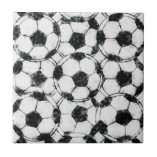 GRUNGY SOCCER BALLS SMALL SQUARE TILE