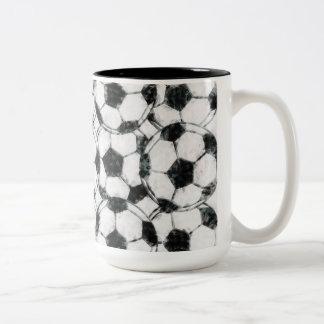 GRUNGY SOCCER BALLS Two-Tone COFFEE MUG