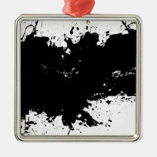 Grungy Splattered Ink Background Metal Ornament