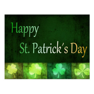 Grungy St. Patrick's Day Shamrocks - Postcard