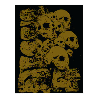 Grungy stacked skulls awesome poster print