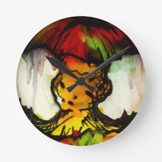 Grungy Street Art Apple Core Wall Clock