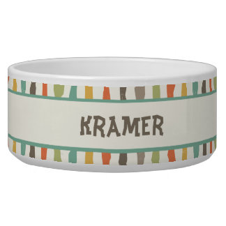Grungy Stripes Personalized Pet Bowl