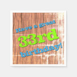 [ Thumbnail: Grungy Style 33rd Birthday Paper Napkins ]
