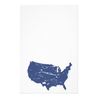 Grungy style USA map Stationery