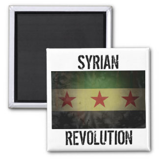"""Grungy """"Syrian Revolution"""" Syria Flag 2 Inch Square Magnet"""