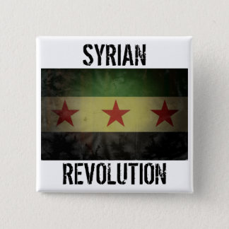 "Grungy ""Syrian Revolution"" Syria Flag Button"