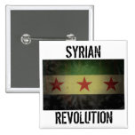 """Grungy """"Syrian Revolution"""" Syria Flag 2 Inch Square Button"""