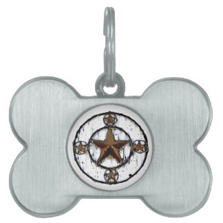 GRUNGY TEXAS STAR PET NAME TAG