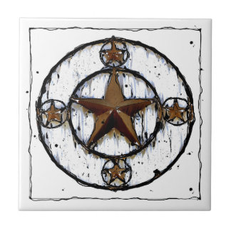 GRUNGY TEXAS STAR SMALL SQUARE TILE