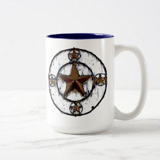GRUNGY TEXAS STAR Two-Tone COFFEE MUG