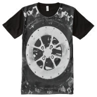 Grungy Tire Rim All-Over Printed Panel T-Shirt All-Over Print T-shirt