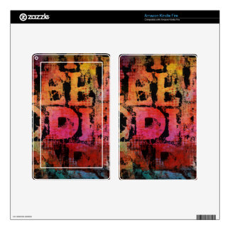 Grungy Typography Decals For Kindle Fire