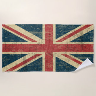 Grungy Union Jack Beach Towel