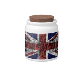 Grungy Union Jack Flag Candy Jars