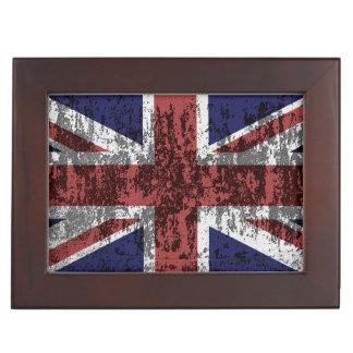 Grungy Union Jack Flag Keepsake Box